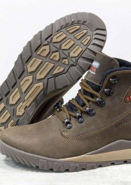 Крутые Зимние мужские Ботинки из натуральной матовой кожи коричневого цвета