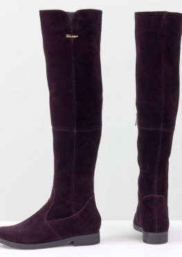 Высокие Ботфорты на узкую ногу, из натуральной замши темно-бордового цвета