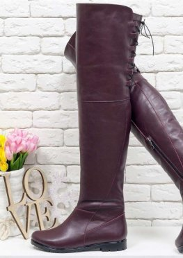 Высокие Сапоги-ботфорты из натуральной кожи бордового цвета