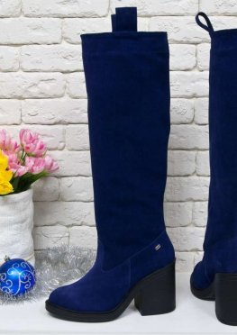 Высокие Сапоги свободного одевания из натуральной замши насыщенного синего цвета