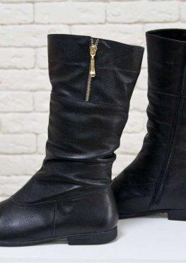 Не высокие женские Сапоги из натуральной кожи-флотар черного цвета