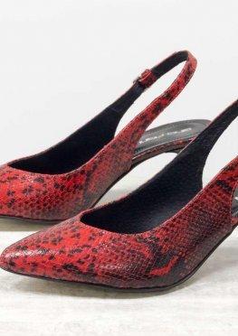 Эксклюзивные туфли с открытой пяткой из натуральной итальянской кожи красного цвета