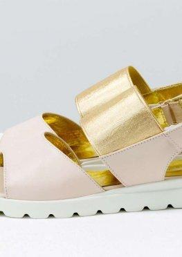 Удобные женские кожаные босоножки нежно-розового и золотого цвета