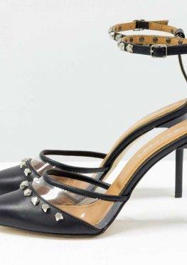 Дизайнерские черные туфли на шпильке, выполнены из натуральной итальянской кожи и вставками из мягкого силикона