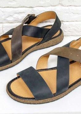 Мужские сандалии из нубука черного и бежевого цвета