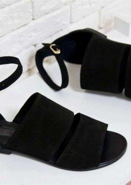 Босоножки из натуральной замши насыщенного черного цвета