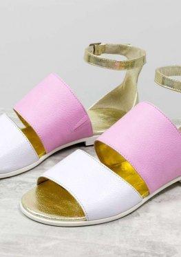 Нарядные летние сандалии из натуральной кожи белого, розового и золотого цвета