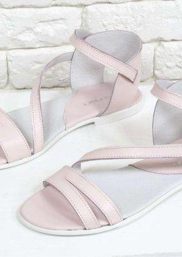 Легкие Босоножки из натуральной кожи нежно розового цвета