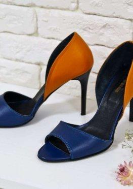 Босоножки из натуральной кожи оранжево-синего цвета