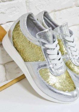 Эксклюзивные кроссовки из натуральной кожи серебряного цвета