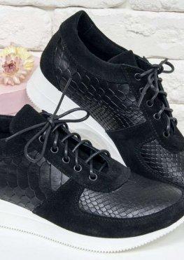 Шикарные кроссовки из натуральной кожи с текстурой питон и замши черного цвета