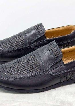 Летние мужские Туфли мокасины из перфорированной кожи черного цвета