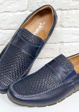 Летние мужские Туфли мокасины из перфорированной кожи синего цвета