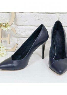 Классические Туфли-лодочки на шпильке из натуральной кожи шикарного синего цвета
