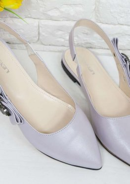 Туфли с открытой пяткой на плоской подошве из натуральной кожи