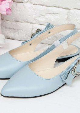 Туфли с открытой пяткой на плоской подошве из натуральной кожи голубого цвета