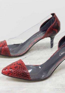 Эксклюзивные туфли из натуральной итальянской кожи черно-красных тонов со змеиным рисунком
