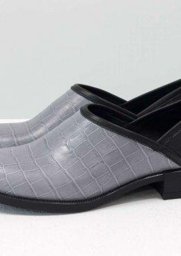 Элегантные женские туфли из натуральной кожи серого цвета