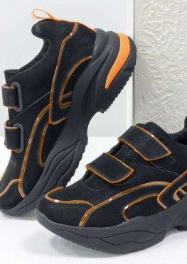 Яркие неоновые кроссовки на липучках от Gino Figini из натуральной бархатной кожи черного цвета