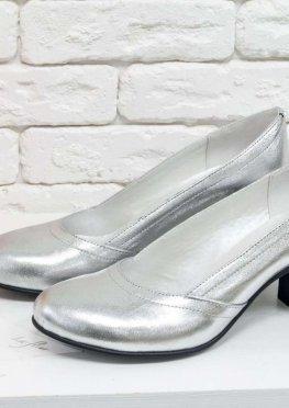 Женские Туфли из натуральной кожи серебряного цвета