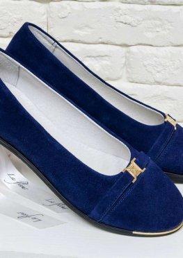 Туфли из натуральной замши синий цвет.