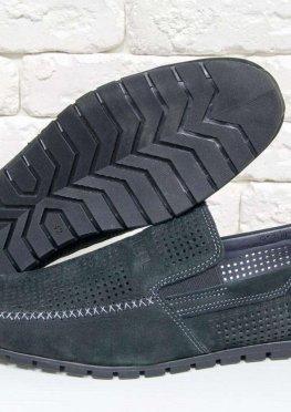 Летние мужские Туфли мокасины из перфорированной замши черного цвета