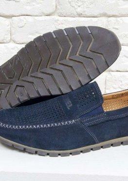 Летние мужские Туфли мокасины из перфорированной замши темно-синего цвета