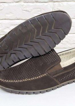 Летние мужские Туфли мокасины из перфорированной замши темно коричневого цвета