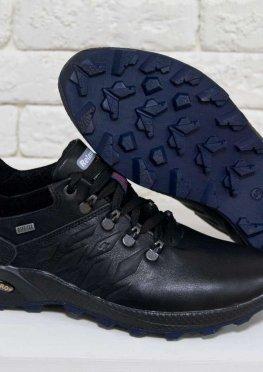 Спортивные мужские Туфли из натуральной кожи черного цвета