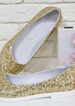 Балетки из текстиля золотая блестящая крошка и натуральной кожи на утолщенной белой подошве