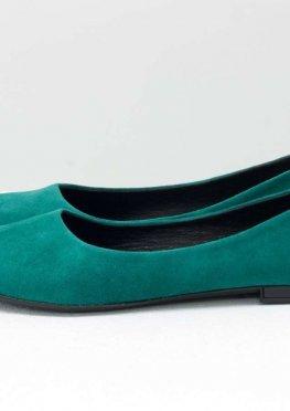 Классические туфли балетки из натурального итальянской замша-велюр бирюзового цвета