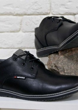 Туфли мужские из натуральной гладкой кожи черного цвета