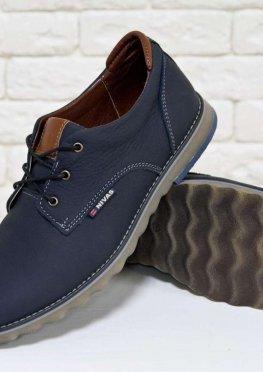 Туфли мужские из натуральной кожи-флотар синего цвета
