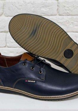 Туфли мужские из натуральной кожи синего цвета