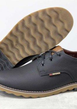 Туфли мужские из натуральной кожи-флотар черного цвета