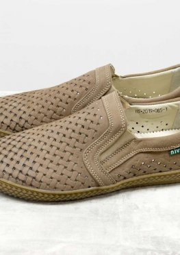 Летние мужские Туфли из перфорированного нубука