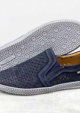 Летние мужские Туфли из перфорированного нубука синего цвета