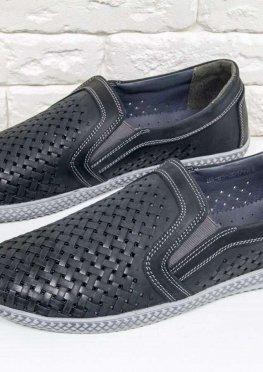 Летние мужские Туфли из перфорированного нубука черного цвета