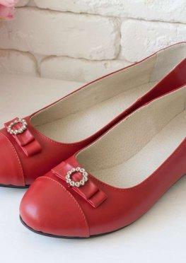 Ярко-красные Туфли из натуральной кожи на низком ходу