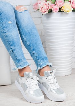 Кроссовки ALIKA белый + серебро