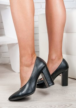 Туфли на толстом каблуке черная кожа