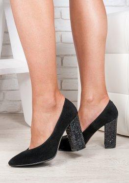 Туфли на толстом каблуке черная замша стекло