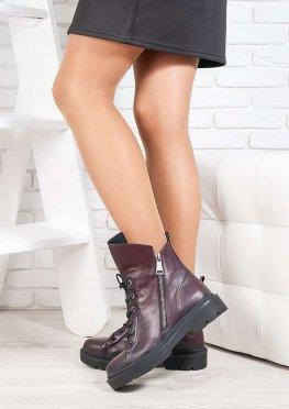 Ботинки  Angelina бордо кожа 6719-28