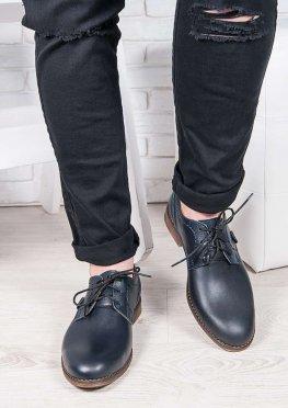 Мужские кожаные туфли т. синие