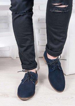 Мужские замшевые туфли т. синие