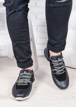 Мужские кроссовки кожа т. синий