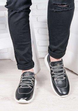 Мужские кожаные кроссовки т.синий