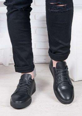 Черные мужские кожаные кеды