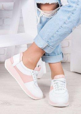 Кроссовки кожа бело-розовые Лола