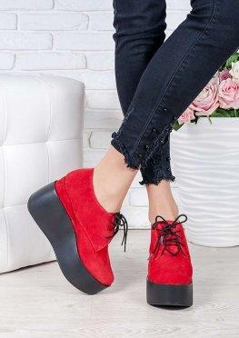 Туфли на высокой платформе красная замша